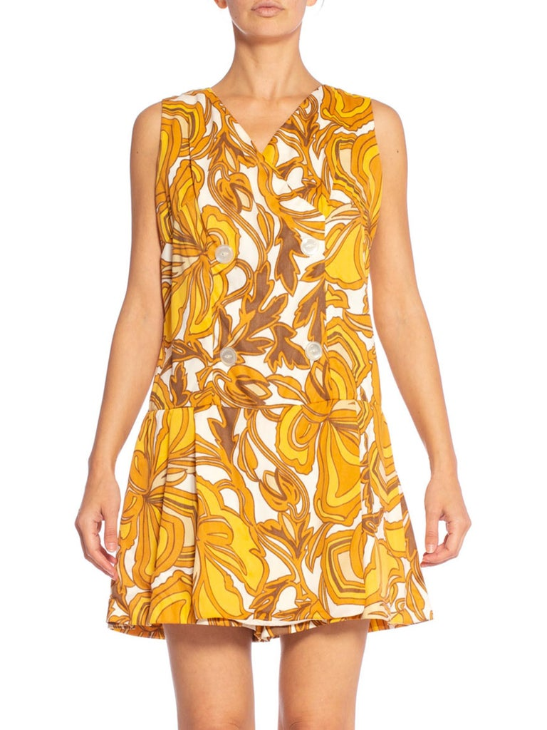 1960's Mod Yellow Print Romper Playsuit