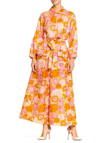 1960S Pink & Orange Quilted Floral Hostess Lounging Jumpsuit