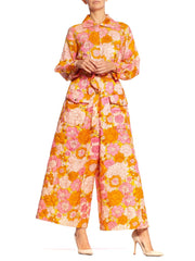 1960S  Pink & Orange Quilted Floral Jumpsuit