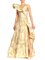 Morphew Collection Chinese Print Silk Ruffled Gown