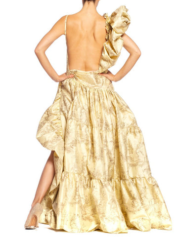 MORPHEW COLLECTION Backless Silk Taffeta  Chinese Toile Voluminous Gown With Slit & Giant Shoulder Ruffle