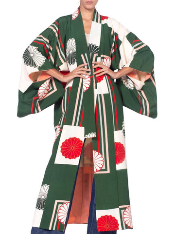 1930S Green & Red Rare Hand Painted Japanese Silk  Kimono