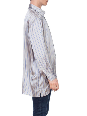 1990'S Grey Silk Satin Men's Stripe Shirt