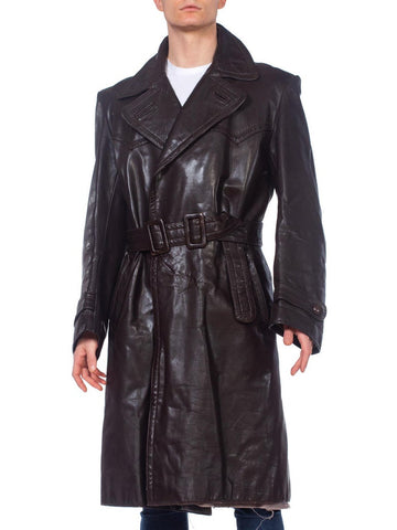 Mens 1970's German Military Brown Leather Trench Coat