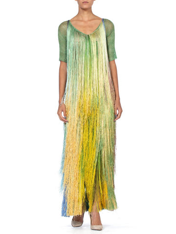 1970's Tie Dye Ombre Crochet Fringe Dress
