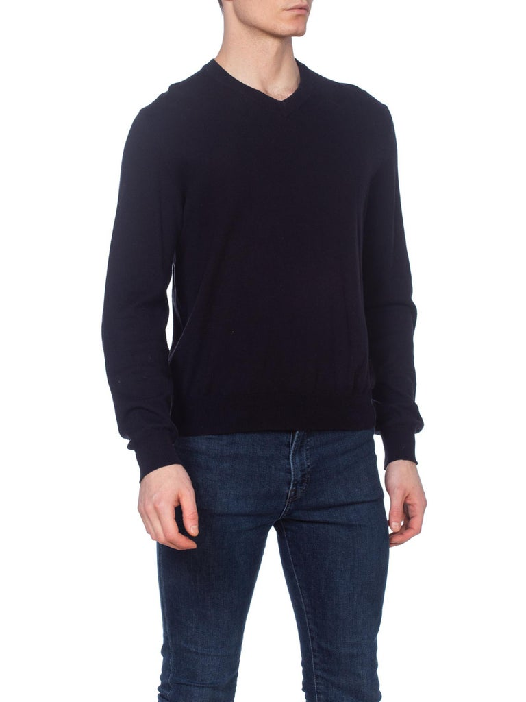 Martin Margiela Italian Cotton Sweater With Leather Patches