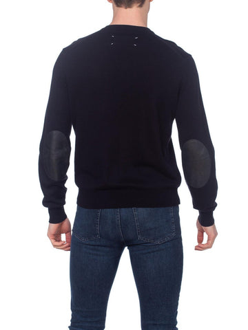 2000S Martin Margiela Black Cotton Knit Sweater With Leather Elbow Patches