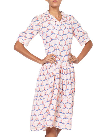1930'S Baby Pink Rayon Crepe Nautical Anchor Art Deco Print Dress