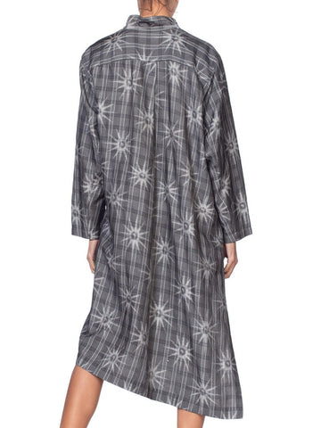 1980'S Issey Miyake Style Black & Grey Silk Blend Minimalist Tunic Shirt Dress