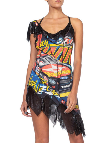 1990'S Morphew Collection Vintage 90'S Nascar Metal Mesh T-Shirt Dress With Chains