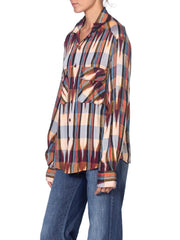 1970'S Brown Rayon Western Ikat Stripe Shirt With Gold Lurex Stripes