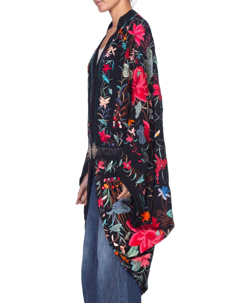 MORPHEW COLLECTION Black Silk Floral Hand Embroidered Piano Shawl  Cocoon With A 1870'S Victorian Clasp
