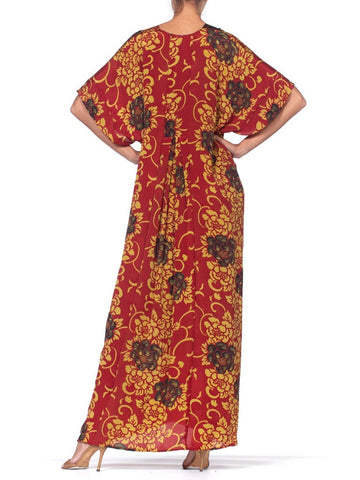 Morphew Collection Burgundy & Green Floral Japanese Kimono Silk Kaftan
