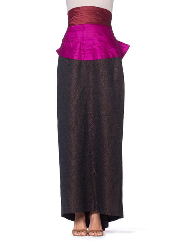 1980S YVES SAINT LAURENT Black Silk Jacquard YSL Metallic High-Waisted Skirt With Giant Pink Bow