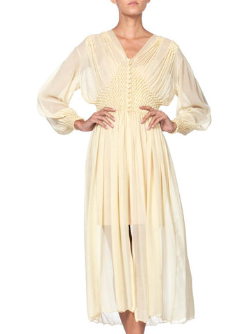1940S Buttercream Yellow Sheer Silk Chiffon Couture Hand Stitched Peignoir Robe