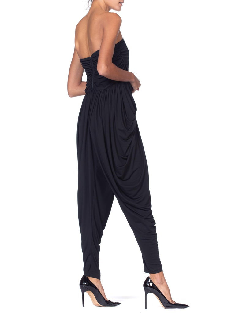 1970S Black Polyester Jersey Strapless Disco Jumpsuit With Pockets