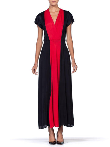 1940's Nylon Knit Red + Black Low Cut Sexy Negligee