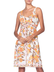1960S Pucci Orange Floral Nylon Jersey Empire Waist Slip Dress