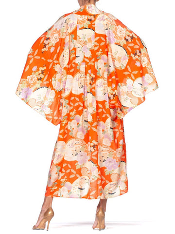 Morphew Collection Kaftan In 1950'S Japanese Floral Silk