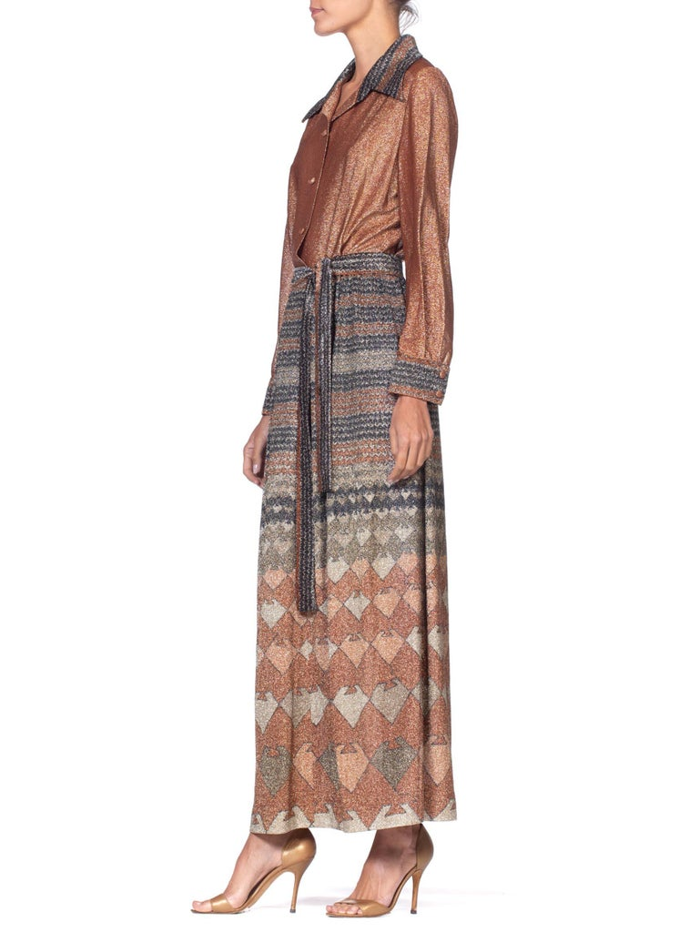 1970'S Copper Metallic Poly/Lurex Geometric Maxi Long Sleeve Shirt Dress