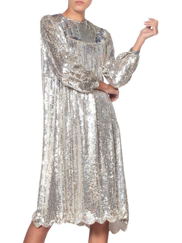 1970'S Silver Sequined Rayon Chiffon Super Shiny Long Sleeve Tunic Cocktail Dress