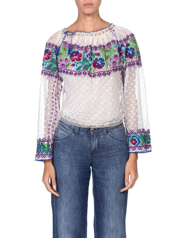 1970's Authentic Hand Embroidered Boho Top With Gold