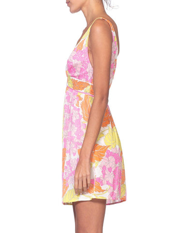 1960'S Pucci Pink & Yellow Nylon Jersey Empire Waist Slip Dress