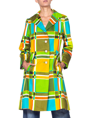 1960's Mod Geometric Green Plaid Print Cotton Coat