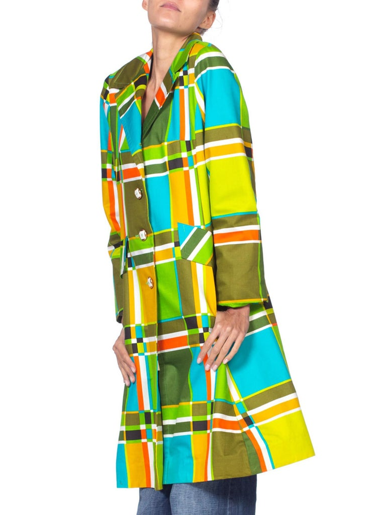 1960'S Lime Green & Orange Cotton Mod Geometric Plaid Print Coat