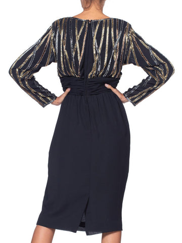 1980S BOB MACKIE Style Black Hand Beaded Polyester Chiffon Long Sleeve Cocktail Dress