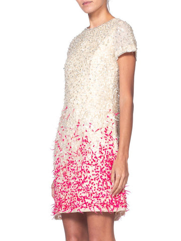 1960'S BALENCIAGA Style White Silk Organza Mod Cocktail Dress Beaded With Pink & Feathered Pailettes Crystals