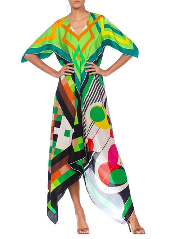 Morphew Collection Bias Mod Geometric Kaftan Dress Made From 1960's Silk Scarves