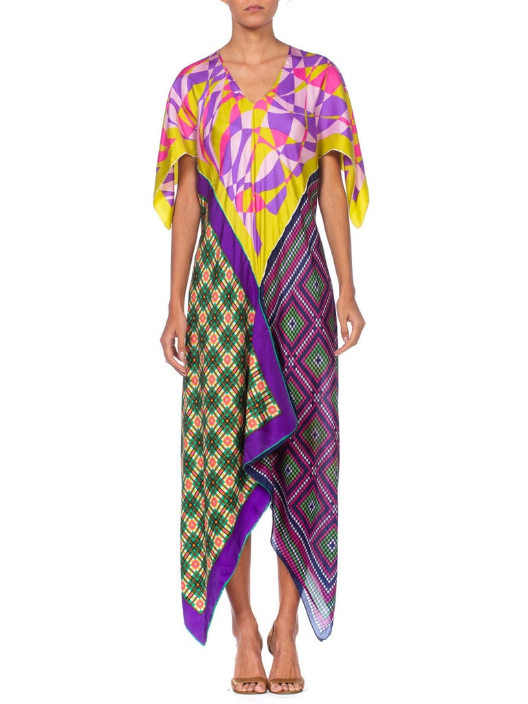 Morphew Collection Multicolor Geometric Bias Cut Dress Made From 1960'S Silk Scarves  | Hamptons | 24hrs- Free Return policy | US Free Shipping | Pre-owned Clothing | Sustainable fashion | Women Vintage Clothing | Vintage Clothing Store