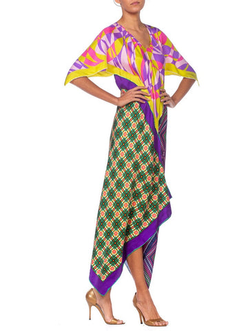 Morphew Collection Multicolor Geometric Bias Cut Dress Made From 1960'S Silk Scarves