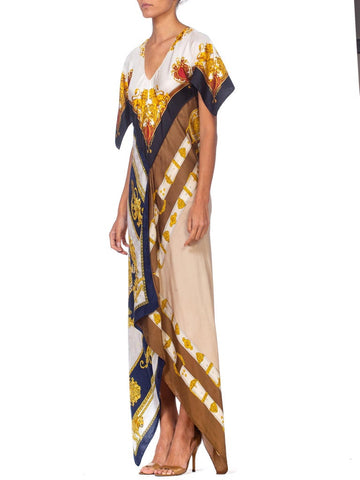 Morphew Collection Status Print Bias Cut Kaftan Dress Made From 1980'S Silk Scarves