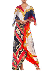 1960'S Morphew Collection Status Print Silk Bias Cut With Sailboat Made From Scarves Kaftan