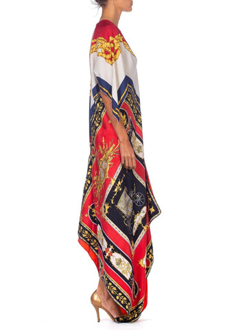 MORPHEW COLLECTION Nautical & Status Print Silk Bias Cut Kaftan Dress Made From 1960'S Scarves