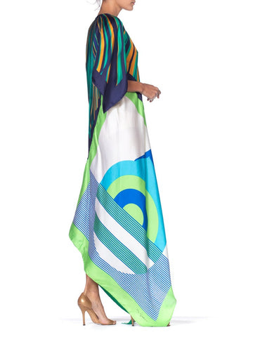 MORPHEW COLLECTION Lime Green & Blue Equestrian Geometric Kaftan 1288