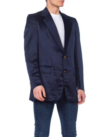 1970's Mens Pierre Cardin Navy Blue Silk Satin Blazer Dinner Jacket