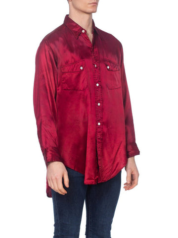 1930'S Cranberry Red Rayon Satin Very Rare Men's Western Shirt