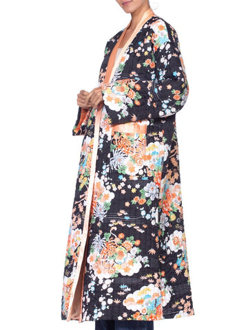1970'S Asian Floral Quilted Kimono Robe Jacket
