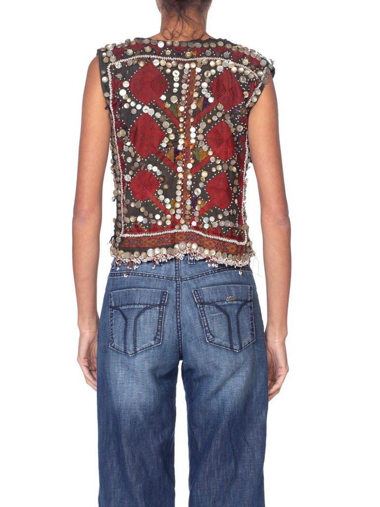 1940S Antique Ethnic Hand Embroidered & Beaded Button Vest