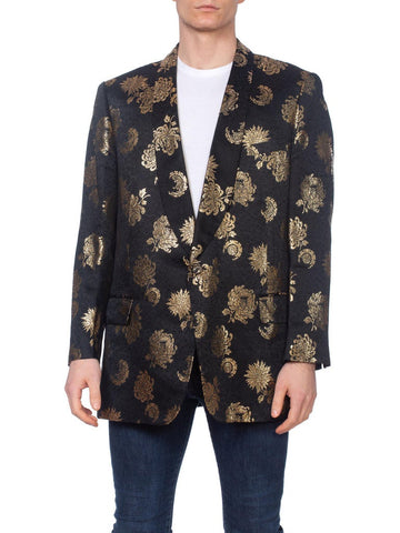 Mens 1960's Bespoke Silk Satin Jacquard Dinner Tuxedo Jacket With Gold Asian Flo