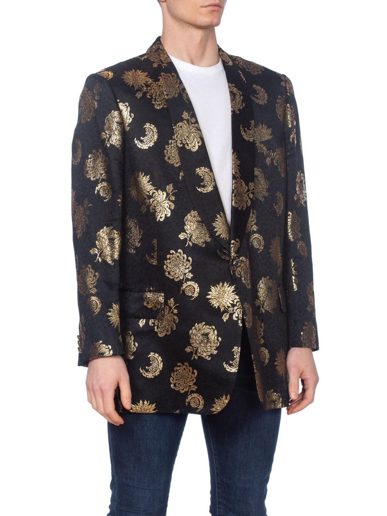 1960'S Black & Gold Silk Jaquard Floral Men's Bespoke Dinner Tuxedo Jacket Xl