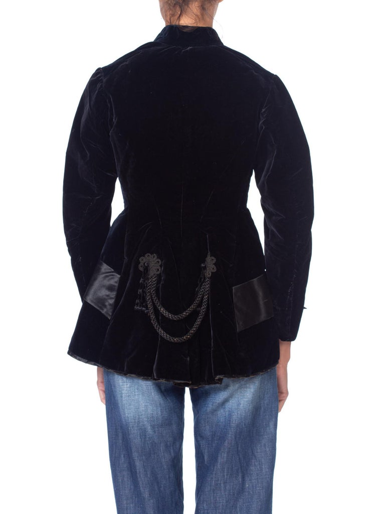 1870S Black Silk Velvet  Hand Quilted Lined Smoking Jacket With Passementerie Details