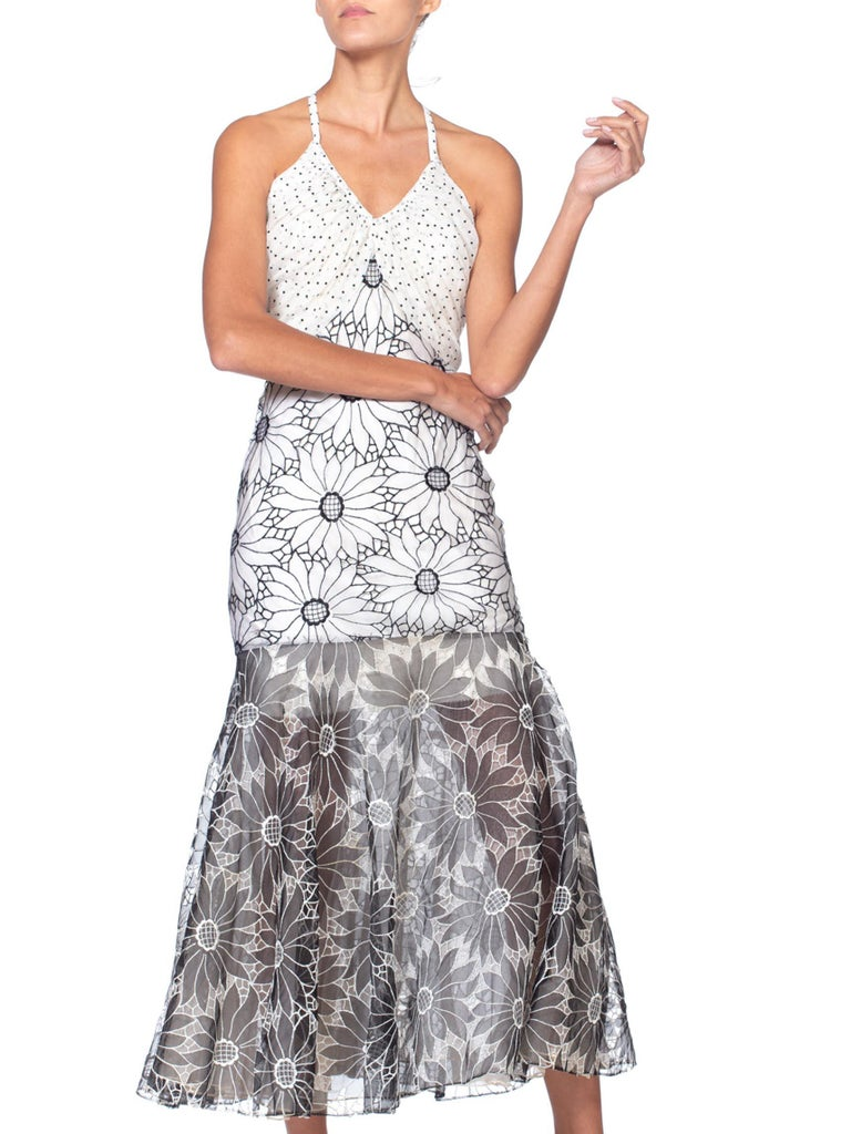 MORPHEW COLLECTION Black & White Silk Lined Gown Made From 1960'S Floral Daisy Lace