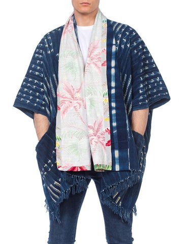 African Indigo Poncho With 40S Tropical Print Collar