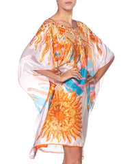 Morphew Collection Hermes Style Sun Print Silk Scarf Tunic Kaftan