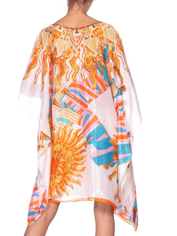 Morphew Collection Silk Hermes Style Sun Print Tunic  Kaftan