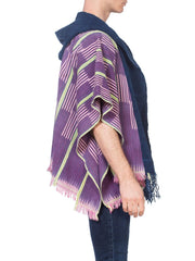 Morphew Collection African Cotton Striped Poncho Robe With Hood